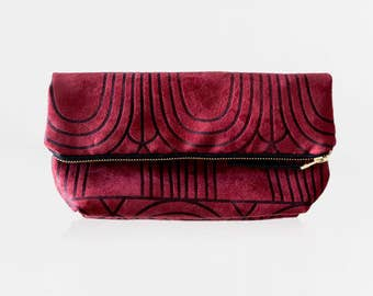 Burgundy Clutch Purse - Faux Suede Foldover - Red Handbag - Vegan Suede Fold Over Clutch - Printed Geometric Evening Bag - Mother's Day Gift