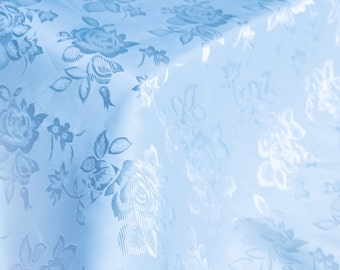 Lt Blue Floral Jacquard Brocade Satin Fabric By the Yard Style 3006