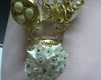 1/2 OFF!!! Vintage Gold and White Button and Earring Necklace, Upcycled Necklace, Bib Necklace, Layered Necklace,417S