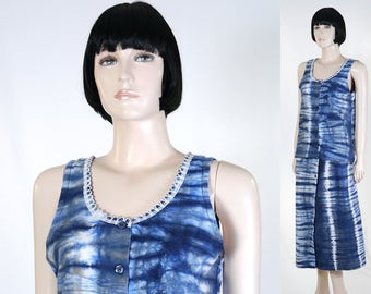 Women's African 2-Piece Outfit - African Clothing - Size 11 - Skirt & Top - Blue/Gray/White - Batik - Tie Die - Bohemian