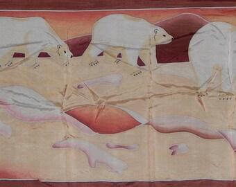Original Inuit hand painted silk screened polar bear pink oblong scarf