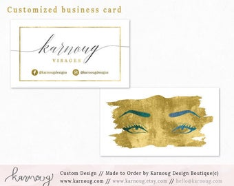 Makeup Business Card|Instant Business Cards|Custom Business Cards|Printable Business Cards|Watercolor|Gold|Printable Cards| Makeup Logo