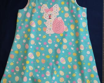 Girls easter dress, egg print dress, bunny dress