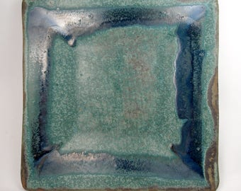 Large square tray in sea green with cobalt blue accents and straight edges