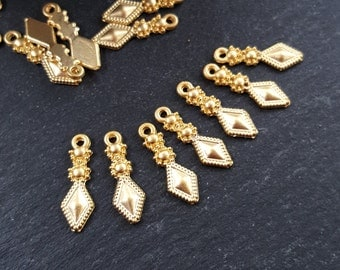 Pendulum Diamond Tribal Charms Non Tarnish Ethnic Turkish Jewelry Supplies Findings Components 22k Matte Gold Plated - 15pc