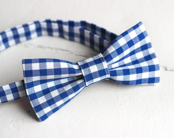Mens Blue Gingham bow tie, Mens Blue bow tie, Mens Easter Bow tie, Royal Blue wedding, Royal Blue Bow Tie Mens Gingham bow tie Mens Bow Tie