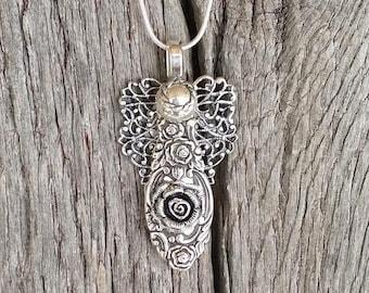 Silverware Angel Necklace Slide