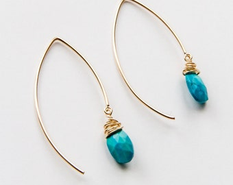 Gold Filled Turquoise Earrings