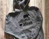 Mama Bear Hooded Sweater, Mama Bear Hoodie, Mama Bear Sweatshirt, Women's Hooded Sweater