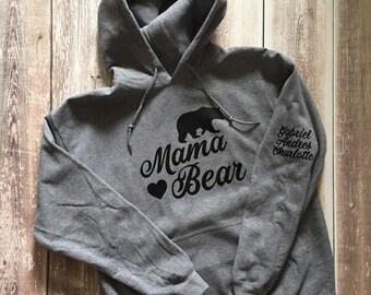 Mama Bear Hooded Sweater, Mama Bear Hoodie, Mama Bear Sweatshirt, Women's Hooded Sweater