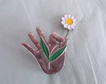 Vintage Hand Holding Daisy Brooch //9