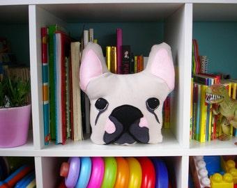 BIANCA French Bulldog Throw Pillow/ Stuffed Plush/ Kids Art Toy/ Dog pattern/ Frenchie Art/ Handmade Houseware/ OOAK/ 4PawsFashion