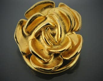 pretty bright bullion gold tone heavy weight metal rose flower shaped west germany w. germany scarf clip scarf ring striking design