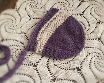 Newborn Photo Prop, Newborn Luxury Knit Bonnet, Newborn Baby Bonnet, Baby Alpaca Bonnet, Photo prop, Newborn photoprop hat RTS