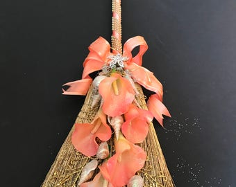 Wedding Broom with Coral Calla Lilies and Sea Shells