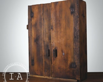 Antique Primitive Handmade Wooden Tool Cabinet