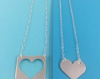 Two hearts connected necklaces