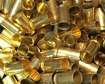 9mm brass, cleaned and polished, 9mm bullets, bullet jewelry supplies, bullet earrings, reloading supplies, bullet cartridges, empty brass