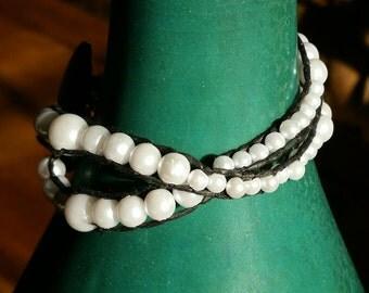 2 Layer White Bead Wrap-around Bracelet