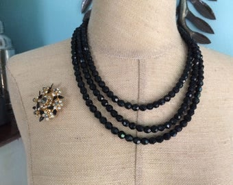 Black Glass Triple Strand Necklace and Matching Rhinestone Brooch Set