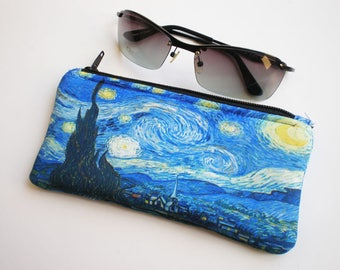 Glasses case, sunglasses case, eyeglasses case, Van Gogh, Case for sunglasses, Quilted eyeglass case, Van Gogh glasses case