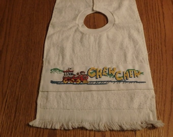 Chew-chew Counted cross stitched baby bib