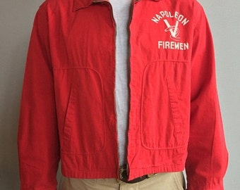 SALE Dan River Bright Red Jacket with two front slash pockets Napoleon Firemen