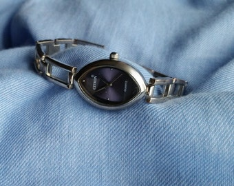 Ladies Citron Watch,  With Iridescent Purple Face, Bracelet Watch, Large-Link Stainless Steel Bracelet Watch