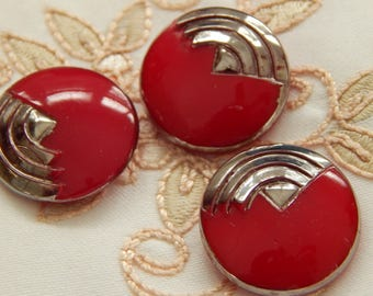 Red Art Deco Vintage Buttons with Silver Luster Accent - 3