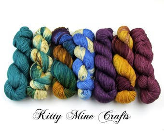 Find Your Fade Multi-pack Yarn Kit - 7 skeins of 55/ 45 Superwash BFL Silk Fingering Yarn - 3,000yds+ - FREE Shipping CODE in Description