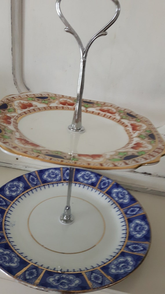 Hand made vintage china cake stand, trinket stand, traditional blue and gold design