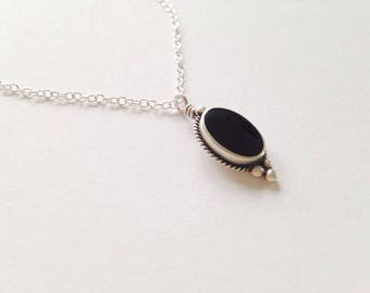 Vintage Upcycled Black Onyx Sterling Silver Necklace