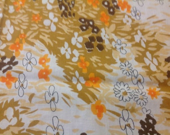 Vintage Vera Tablecloth Orange Brown and Tan Tablecloth Mod