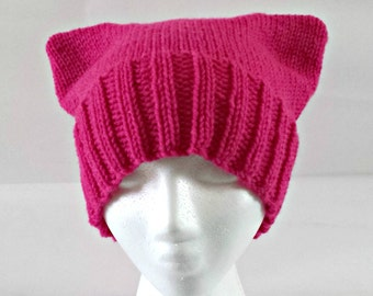 Pink knit cat hat, handknit hat, pink cat beanie, cat ear hat, pink pussyhat, knit pussyhat, nasty woman, pussyhat project, womens march,