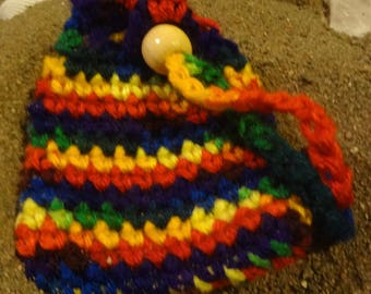 Small Crochet Rainbow Mojo Bag/Reiki/Handmade/Pride/Child/Adult/Gift under 10