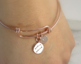 Rose Gold Bangle-Rose Gold Constellation Jewelry- Zodiac Bracelet-Starsign jewellery- Bridesmaid Gift-Birthday Gift -Stacking Initial Bangle
