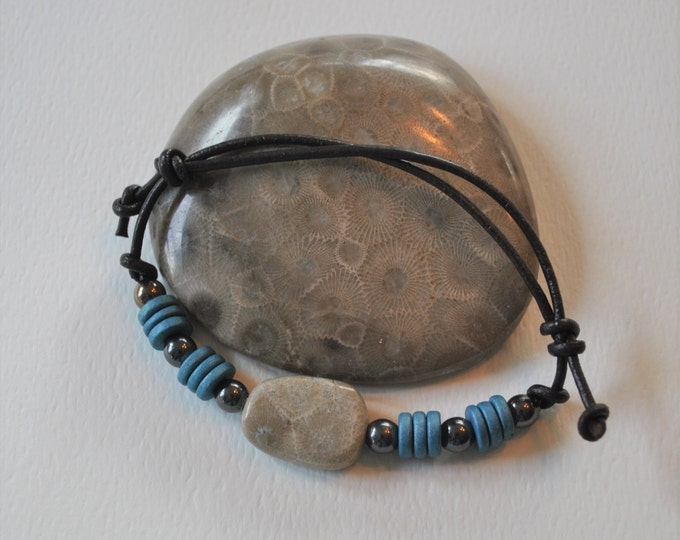 Petoskey Stone Bracelet on leather with blue ceramic beads, Up North, bracelet, Michigan