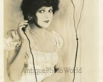 Pretty actress Marietta Millner posing with telephone antique photo E. R. Richee