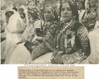 Algeria Africa Ouled Nail dancers in ethnic costumes antique photo