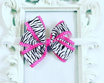 Pink And Zebra Print Hair Bow, Zebra Print Hairband, Girl's Pink And Black Hair Bow, Girls 4 inch Zebra Print Hair Bows, Newborn Hair Bows