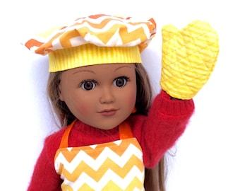 18 Inch Doll Clothes, Chevron Apron, Chef's Hat, Oven Mitt, Orange, Yellow and White Chevron Chef's Set