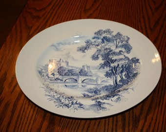 Wedgwood & Co., LTD, Vintage Coutryside  Platter in Blue and White,  made in England