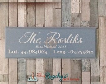 "16"" x 6"" Wood Custom Established Sign, wedding gift, anniversary gift, new home gift"