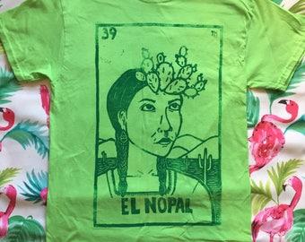 Size MEDIUM, El Nopal - Loteria (Mexican Bingo) Design,  Lime Green Unisex T-Shirt, Ready-to-Ship