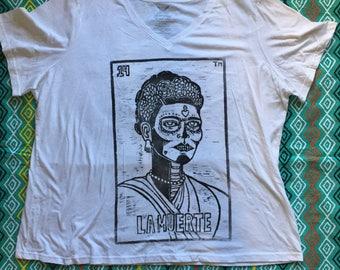 Size Women's 4X (26W-28W), LA MUERTE - Frida Kahlo, Loteria (Mexican Bingo) Design, White T-Shirt