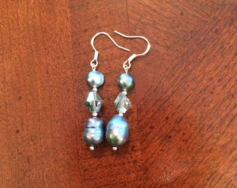 Iridescent Gray Baroque Freshwater Pearl Earrings