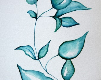 Original 5 x 7 inch watercolor painting of a blue plant by Meredith O'Neal