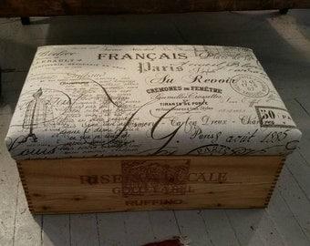 Rustic wine box ottoman, footstool or extra storage.
