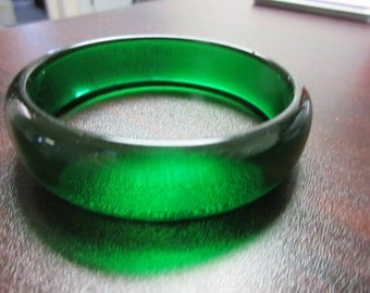Green Prystal Lucite Bangle Bracelet