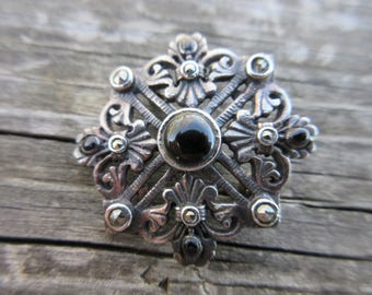 Sterling Silver Black Onx Pin Or Pendant